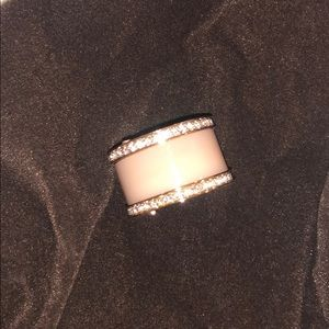 Michael Kors pink and rose gold cigar ring size 7